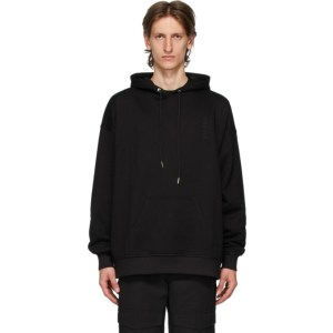 Dion Lee Black Oversize Embroidered Logo Hoodie