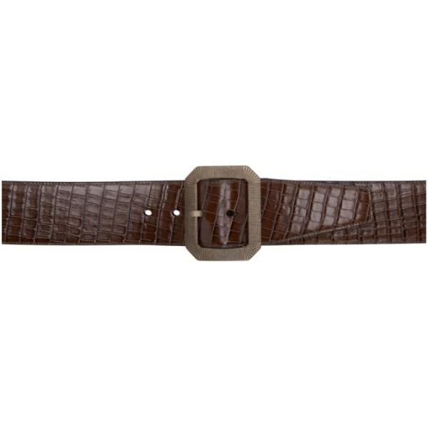 Saint Laurent Brown Croc Belt