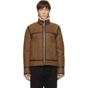PS by Paul Smith Tan Sheepskin Flight Jacket