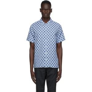PS by Paul Smith Blue Polka Dot Casual Short Sleeve Shirt
