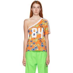 adidas LOTTA VOLKOVA Orange Floral One Shoulder T-Shirt