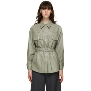 LVIR Grey Faux-Leather Belted Shirt