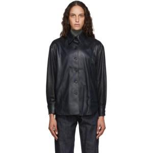 LVIR Black Faux-Leather Oversized Shirt