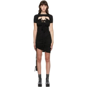 Hyein Seo Black Macrame Sleeve Dress