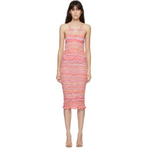Gauntlett Cheng SSENSE Exclusive Pink and Orange Elasticated Wool Keyhole Dress