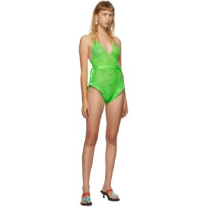 Im Sorry by Petra Collins SSENSE Exclusive Green Lace Bodysuit