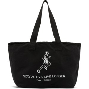 Sporty and Rich Black Live Longer Tote Bag