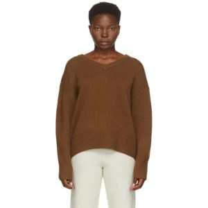 arch4 Brown Cashmere Battersea V-Neck Sweater