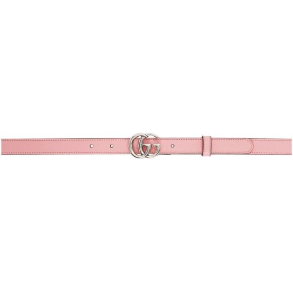 Gucci Pink Skinny GG Marmont Belt