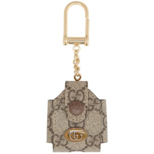 Gucci Beige GG Ophidia AirPods Case Keychain