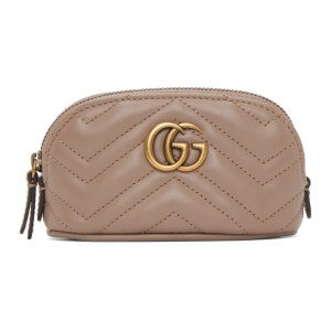 Gucci Pink Mini GG Marmont 2.0 Coin Pouch Keychain