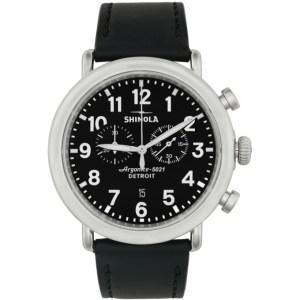 Shinola Silver and Black The Runwell Chrono 47mm Watch