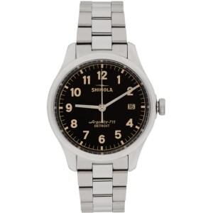Shinola Silver and Black The Vinton 38mm Watch