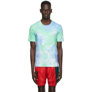 MCQ Blue and Green Tie-Dye T-Shirt