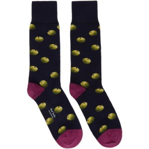 Paul Smith 50th Anniversary Navy and Purple Apple Socks