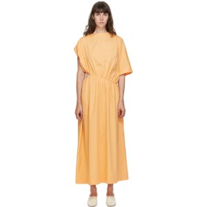 Esse Studios Orange Cut-Out Asymmetrical Gathered Dress