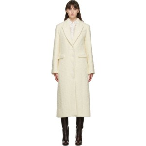 Nina Ricci Off-White Textured Wool Coat