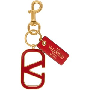 Valentino Gold and Red Valentino Garavani VLogo Keychain