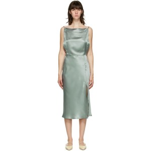 Le Kasha Green Silk Tsaidam Mid-Length Dress