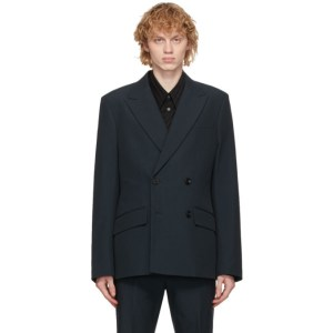 Rochas Homme Navy Wool Double-Breasted Blazer
