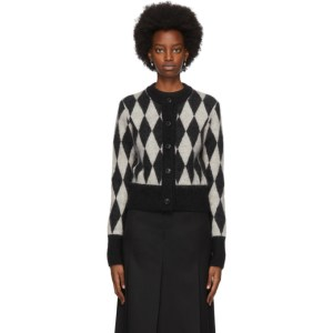 AMI Alexandre Mattiussi Black and White Mohair Diamond Cardigan