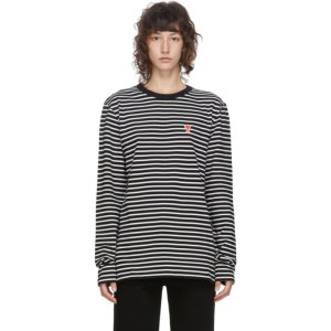 AMI Alexandre Mattiussi Black and White Ami De Coeur Mariniere Long Sleeve T-Shirt