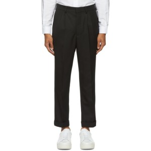 AMI Alexandre Mattiussi Black Carrot Fit Cuffed Hem Trousers