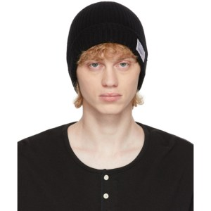 Visvim Black Wool Rib Knit Beanie