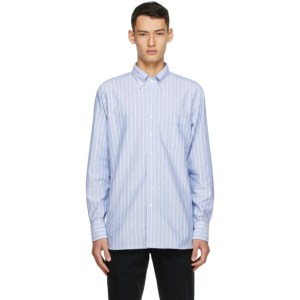 Drakes Blue and White Oxford Stripe Regular Fit Shirt