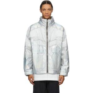 JERIH Silver Iridescent Color Block Jacket