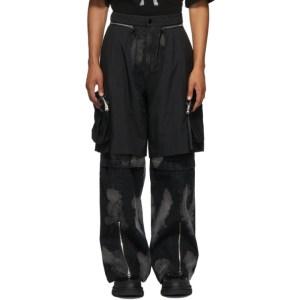 JERIH Black Aircraft Cargo Pants