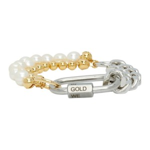 IN GOLD WE TRUST PARIS Silver and Gold Cuban Link Bracelet