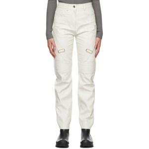 System Off-White Faux-Leather Moto Details Jeans