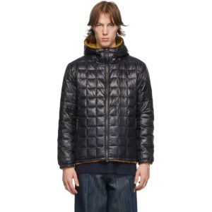 TAION Reversible Black and Tan Down Hooded Mountain Jacket