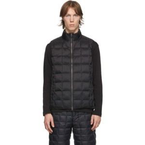 TAION Black Down Basic High Neck Puffer Vest