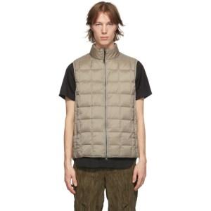 TAION Khaki Down Basic High Neck Puffer Vest