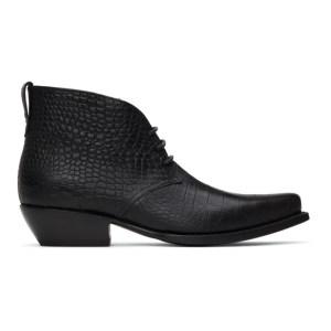 4SDESIGNS Black Croc Western Boots