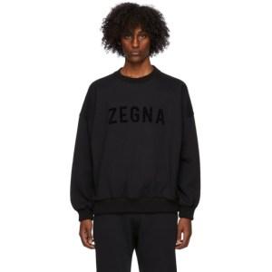 Fear of God Ermenegildo Zegna Black Oversized Logo Sweatshirt