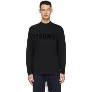 Fear of God Ermenegildo Zegna Black Oversized Logo Long Sleeve T-Shirt