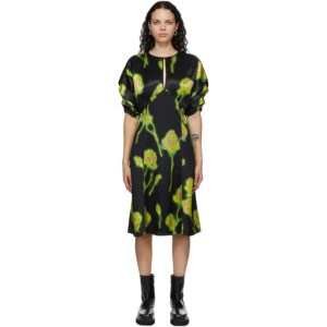 Meryll Rogge Black and Green Satin Gathered Sleeve Neon Roses Dress
