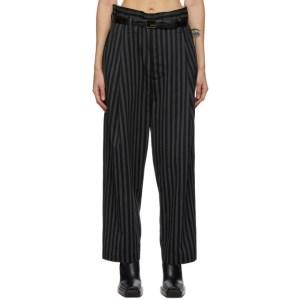 Meryll Rogge Black and Grey Wool Striped Trousers