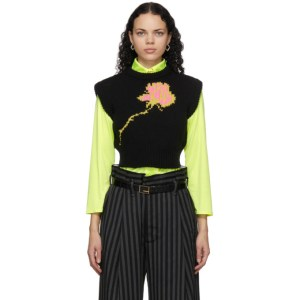 Meryll Rogge Black Rustic Cropped Sweater Vest