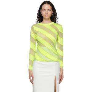 Meryll Rogge Yellow Diagonal Stripes Fluid Long Sleeve T-Shirt