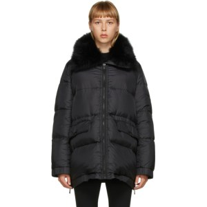 Yves Salomon - Army Black Down Lamb Fur Jacket