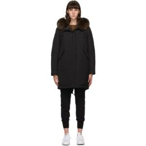 Yves Salomon - Army Black Down Hooded Coat