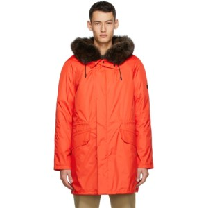 Yves Salomon - Army Red Down and Fur Technical Coat