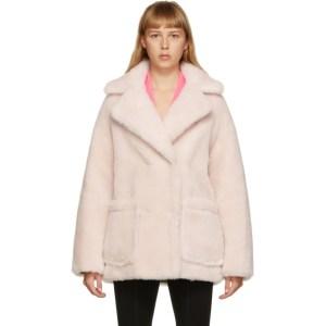 Yves Salomon - Meteo Pink Wool Short Double-Breasted Coat