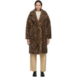Yves Salomon - Meteo Brown and Beige Wool Leopard Coat
