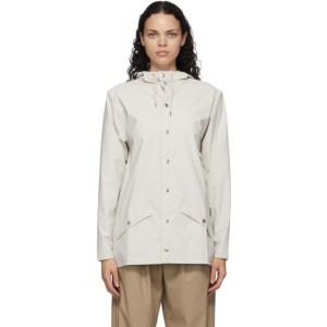 RAINS Off-White Mid Button-Down Rain Coat