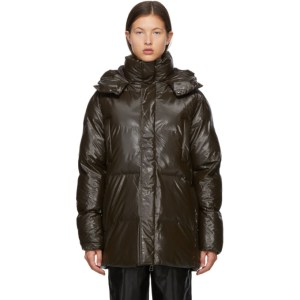 RAINS Brown Satin Puffer Coat
